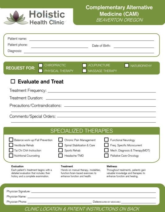 Authorization Form(1/2) Design for Holistic Health Clinic